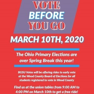 The Ohio Primary Elections are over Spring Break.  Take advantage of early voting before you go on break.