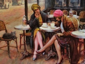 'Coffe and New Shoes' oil by Tim Kelly