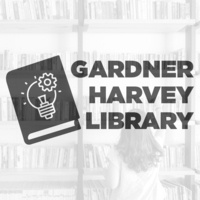 Text reads: Gardner Harvey Library. Photo of girl in library with book icon