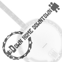 Text reads: Down Home Downtown with graphic of a banjo and a banjo in grey in the back