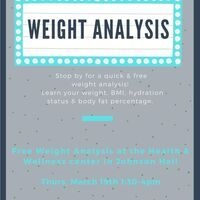 Cancelled - Weight Analysis- Thurs 3/19 1:30-4pm | Dining Services
