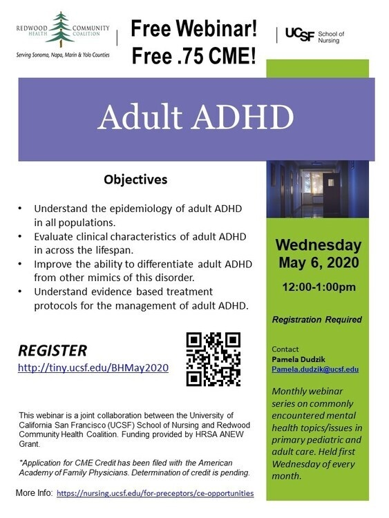 May 6, 2020: Webinar:  Adult ADHD at Webinar