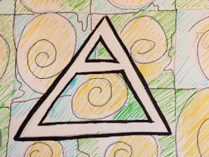 drawing of triangle against background of spirals