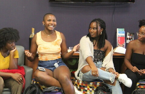 A group of students gathered in the African American Cultural Center for a weekly discussion.