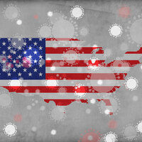 Map of USA with American flag juxtaposed on it, with fireworks