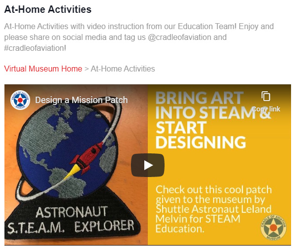 At-Home Activities with video instruction from our Education Team!