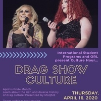 Flyer of Drag Show Culture hour with photo of drag queens holding mics on stage