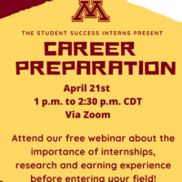 Career Preparation Webinar Tuesday at 1 p.m. CDT via Zoom