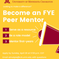Become an FYE Peer Mentor Flyer