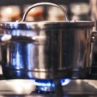 Pot on an open flame.