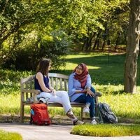 Undergrad students on campus bench