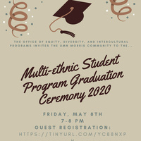Flyer for Multi-ethnic Student Program graduation ceremony 2020 with graduation cap and confetti raining down