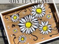 Vintage Daisy Wood Tray Take Home Paint Kit