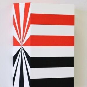 """Richard Roth, """"Bada Boom"""", 2019, Acrylic on wood panel, 12 x 8 x 4 inches"""