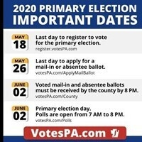 Mail-In Ballot - PA Primary Election - Due May 26