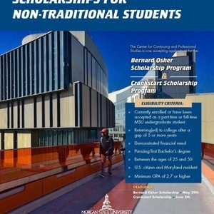 Flyer Promoting Scholarships for Non-Traditional Students