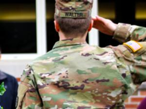 ROTC candidate saluting