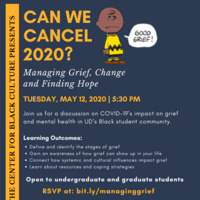 Flyer with image of Charlie Brown (Good Grief) and CCSD Counselors