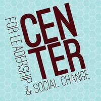 Center for Leadership & Social Change logo in garnet on a teal honeycomb patter background.