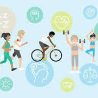 Graphic with a bike rider, two people jogging, someone doing yoga, and someone lifting weights