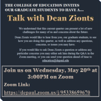 COE Graduate Talk with Dean Zionts