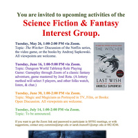 Science Fiction & Fantasy Interest Group Meeting (Virtual) on Tabletop Role Playing Game