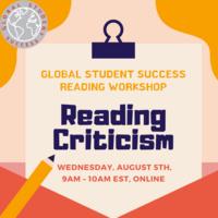 GSS Reading Workshop: Reading Criticism