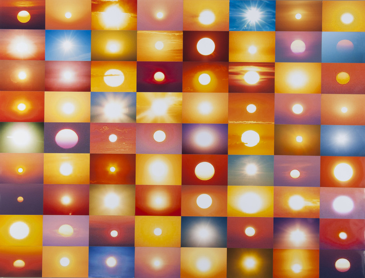 This image is a checkerboard made of photographs of the sun taken by various folks on Flickr—compiled by Penelope Umbrico. It fills one with both hope and terror; the dawn and it's promises of a new day; and the disorientation created by imagining that seventy-two suns have begun to rise beyond the horizon.
