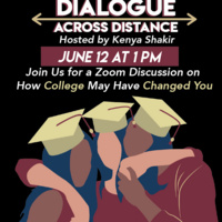 Dialogue Across Distance: a group of hugging graduates in garnet and gold cap and gown