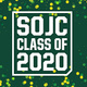 SOJC Class of 2020 - green background, white lettering with yellow and green confetti