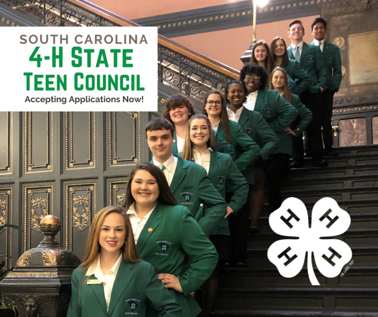 SC 4-H State Teen Council Application being accepted.