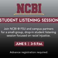 NCBI Student Listening Session over gray and black background with event details repeated from description.