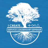 Service Leadership Seminar logo of a tree with the words I create and symbols for positive, sustainble, change.