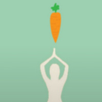 Silhouette of person doing yoga with a carrot hovering over them to represent yoga at the garden.