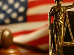 montage of justice statue with gavel and American flag