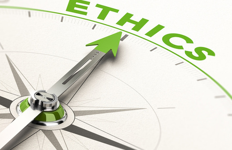 Compass pointing to ethics