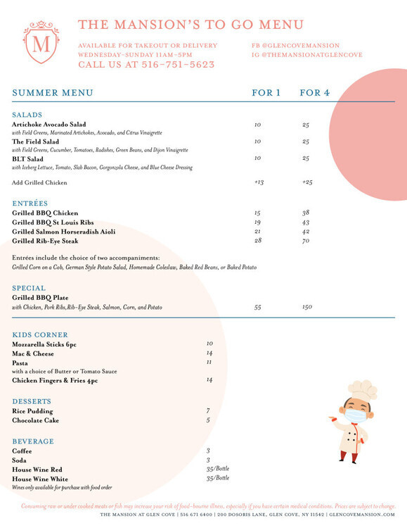 The Mansion's To Go Menu
