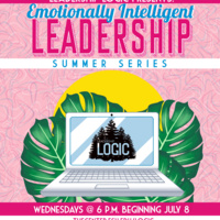 Laptop with the LOGIC logo in front of a setting sun, with tropical plants and pink textured background. Text: Emotionally Intelligent Leadership Summer Series