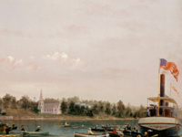 Depicts the Great Scull Race of July 4, 1878, at Skaneateles, NY