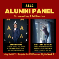 ASLC Alumni Panel: Screenwriting and Art Direction July 9 at 8PM