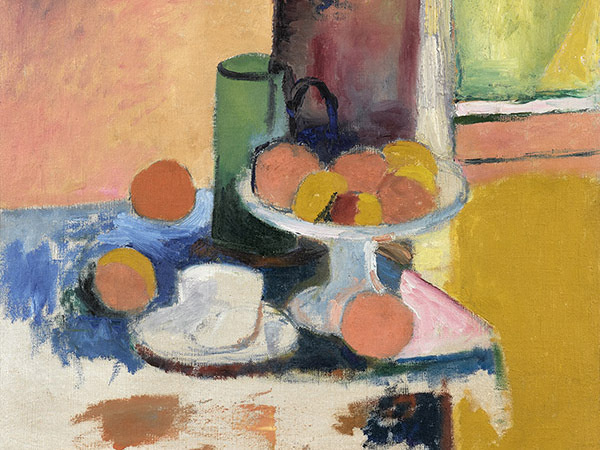 """Henri Matisse (French, 1869–1954), detail of """"Nature morte aux oranges (II)"""" (Still Life with Oranges [II]), c. 1899. Oil on canvas, 18 1/16 x 21 7/8"""". Gift of Mr. and Mrs. Sydney M. Shoenberg Jr., 1962. © Succession H. Matisse / Artists Rights Society (ARS), New York."""