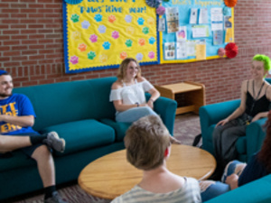 Students meeting in residence hall