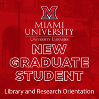 "Image of King library with red layer, white text reading ""New Graduate Student Library and Research Orientation"""