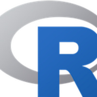 The R programming language logo: an uppercase blue letter R superimposed on a hollow oblong oval laying horizontally
