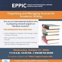 Organizing and Managing Sources for Academic Writing