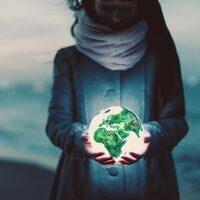 woman with globe