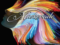 Colorful image burst featuring the text Maskerade