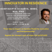 Innovator in Residence-Dr. Soumyadipta Acharya-Office of Creative Inquiry