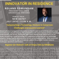 Innovator in Residence-Roland Fomundam-Office of Creative Inquiry