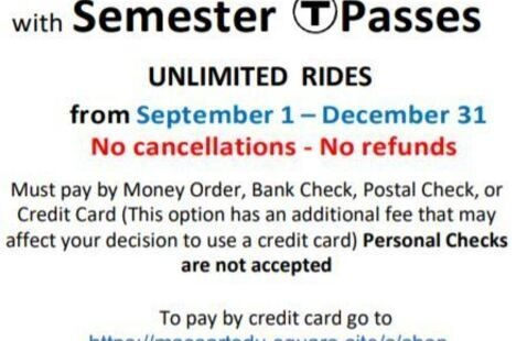 Fall 2020 MBTA  T-Pass Student Program – Save 11%!